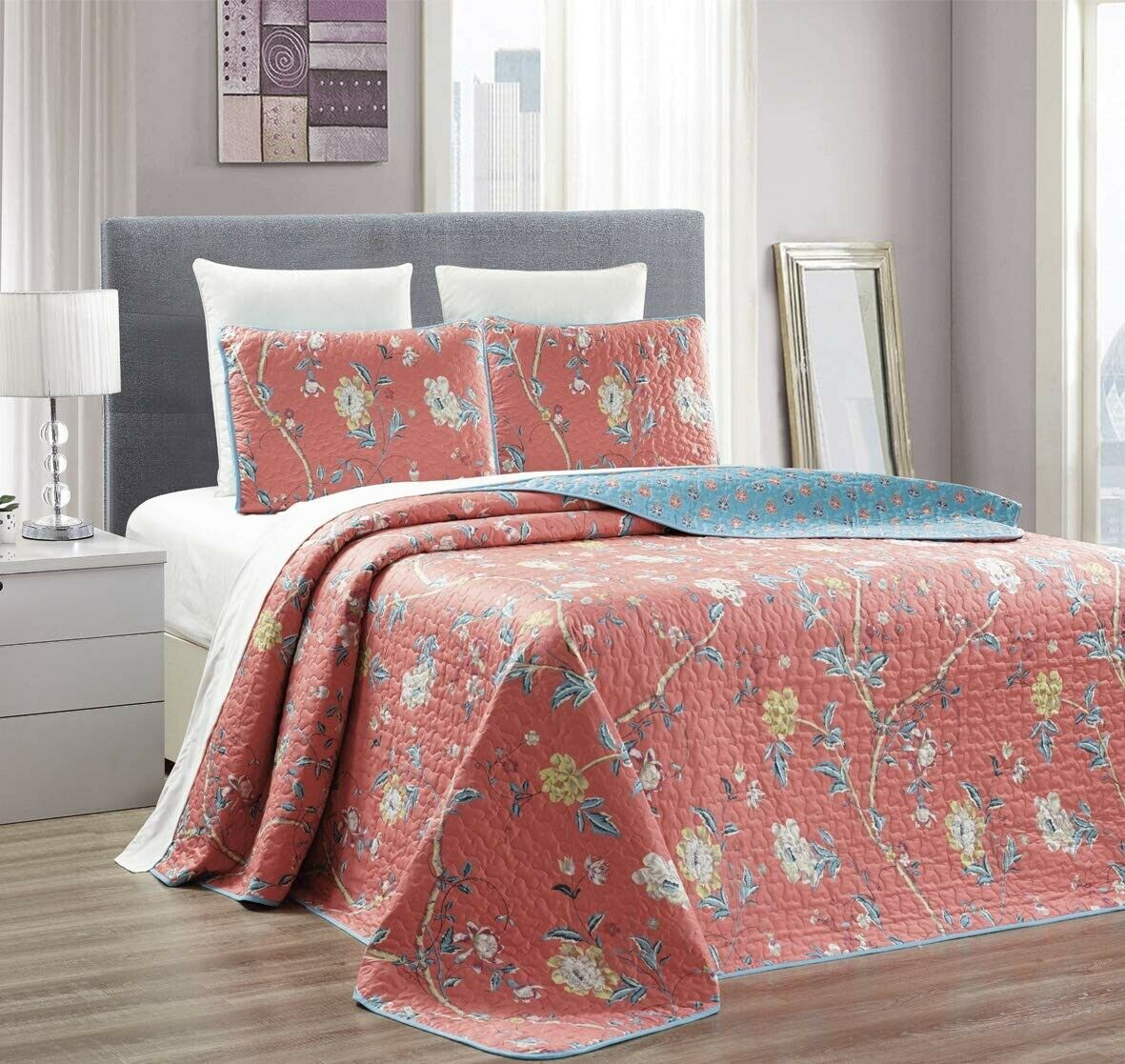 Coral Blue Floral Quilt Reversible FULL / QUEEN Size Coverle