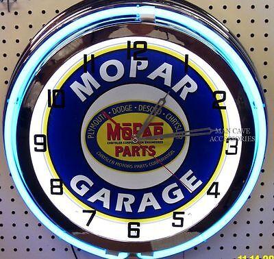 """18"""" MOPAR GARAGE Sign Double Neon Clock Dodge Plymouth Ram Chrysler"""