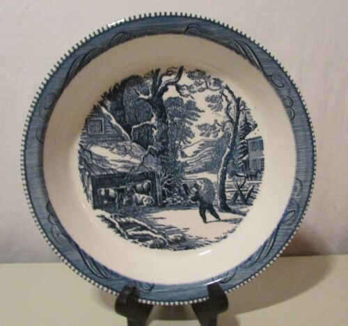"""Currier & Ives Blue & White Pie Plate Dish 10""""~Milk Cow Farmer Primitive Scenery"""