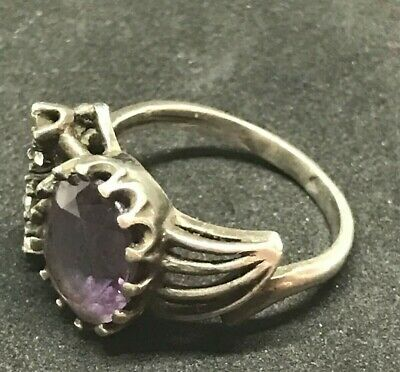 ANTIQUE VICTORIAN STERLING SILVER AMETHYST RING SIZE 8.5