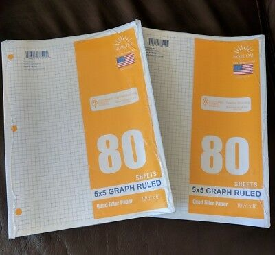 Lot 2 Packages Graph Filler Paper 5x5 80 Sheets Per Packet Norcom Made In Usa