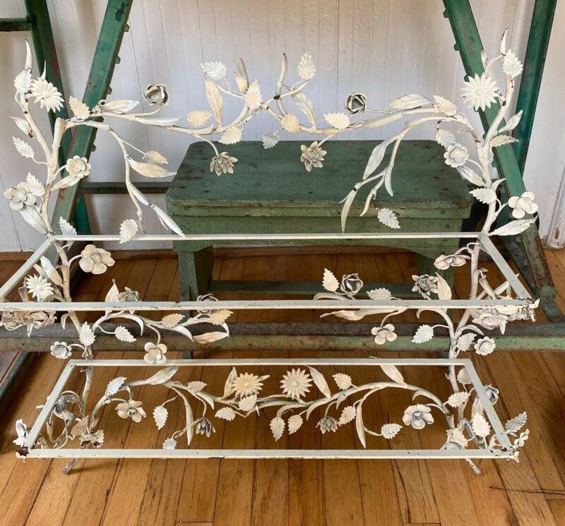 "Chic Vintage Ornate Floral Shelf Creamy White Italian Tole 28"" Glass Shelves"