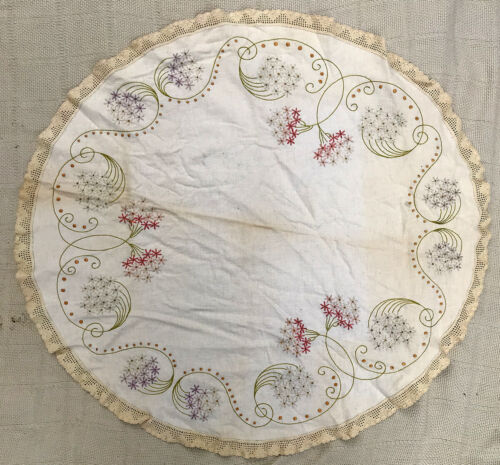"""Antique 32"""" Round Linen Embroidered Table Topper Tablecloth Free Shipping"""