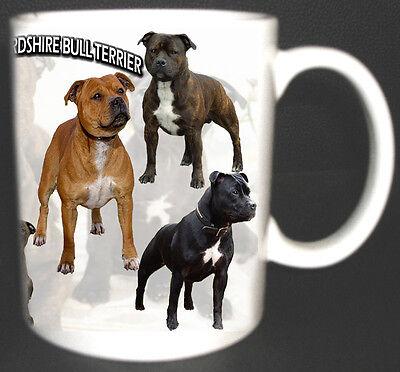 STAFFORDSHIRE BULL TERRIER DOG DESIGN STAFFY COFFEE MUG. LIMITED EDITION GIFT *