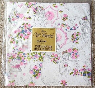 Vintage Bridal Shower Gift Wrapping Paper White w/Pink Flowers & Bride 60s/70s - Bridal Shower Wrapping Paper