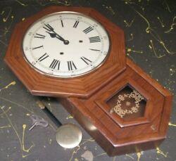 Hamilton wind-up wall clock w/ chime, oak wood case