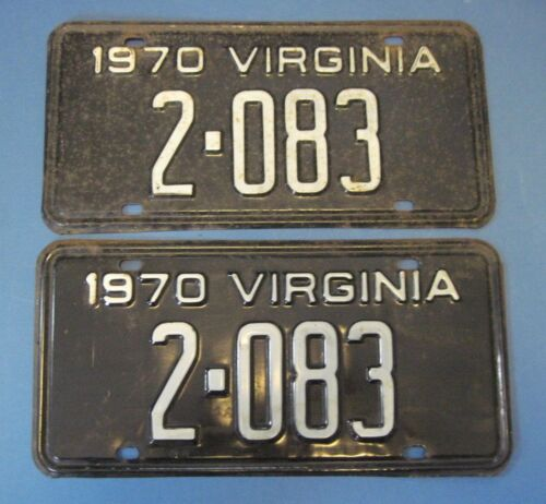 Matched Pair 1970 Virginia License Plates neat low number pair