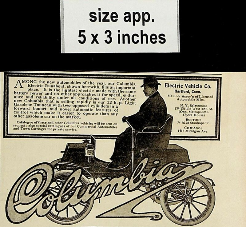 1904 Columbia Electric Vehicle Co. Automobile Car Vintage Print Ad 5156