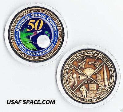 NASA KENNEDY SPACE CENTER - 50th ANNIVERSARY COIN MADE WITH MISSION FLOWN METAL