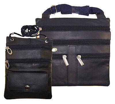 Ladies Set of 2  Blue Cross Body Thin Travel Document Leather Satchel Hide Bags