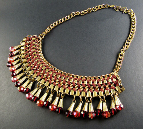 "COLAR BIB NECKLACE DANGLE  RED BEADS 20"" (D5)"