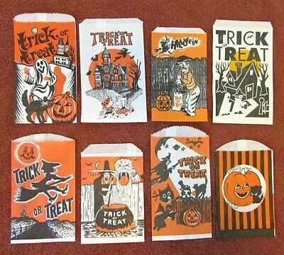 Halloween Paper Candy Bags (VTG lot 8 Halloween Paper Trick or Treat Candy Craft Bags Witch Haunted)