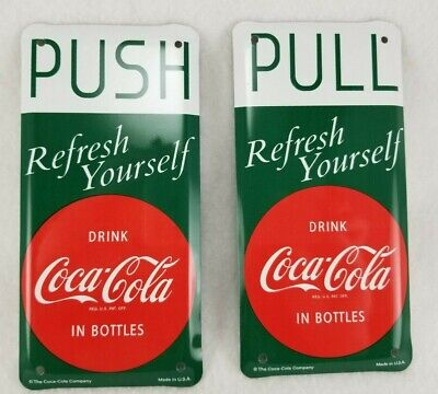 Vintage Style Coca-Cola Push Pull Door Plates - 2 Piece Set - Red Disc Sign