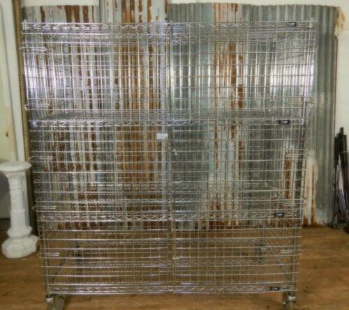 Large Uline Wire Security Cart Storage Cage Lockable Adjustable Shelves, Wheels