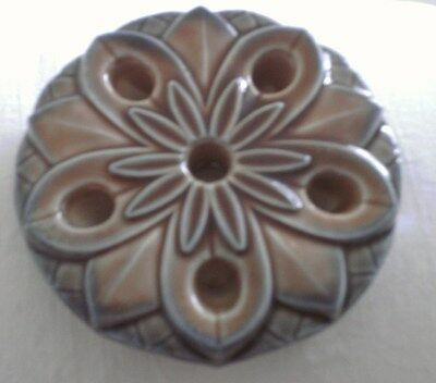 FIVE THIN CANDLE HOLDER BLUE & BROWN WADE