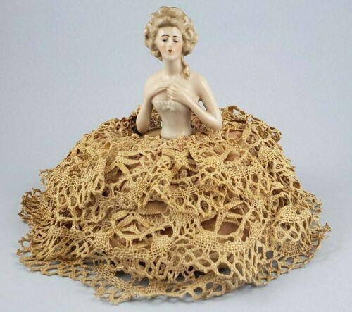 "Antique Half Doll & Pin Cushion German 4 1/4"" Lady Pin Cushion Porcelain Germany"