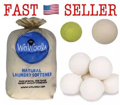 Wool Dryer Balls - Best Natural Fabric Softener - 6 Pack XXL -100% Organic -