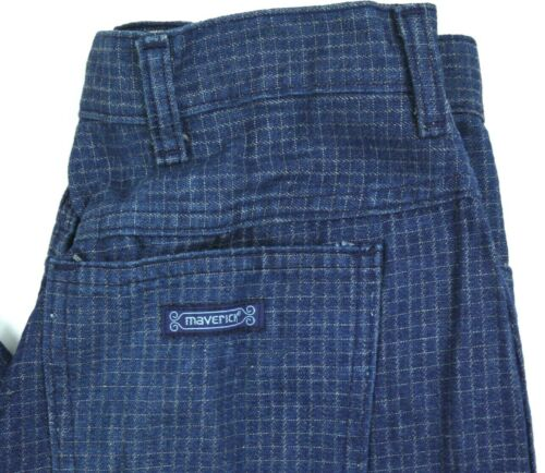 VINTAGE 70s MAVERICK dark PLAID jeans high waist DENIM womens 10 28x34 28W