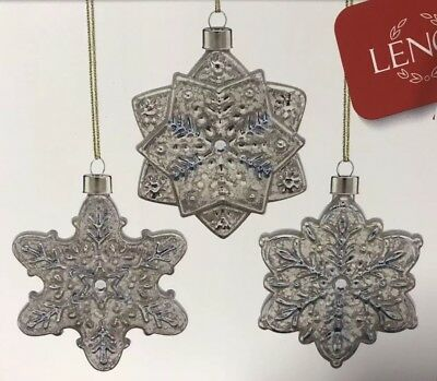 Lenox - Set 3 - Vintage Glas Schneeflocke Ornamente - Feder 877858 ()