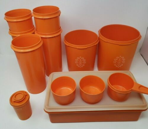 Vintage Tupperware Canisters Orange no lids 677 262 807 809 1229 102