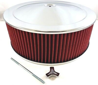 """14"""" x 5"""" Chrome Steel Performance Air Cleaner Kit W/ Washable Red Filter 14x5"""