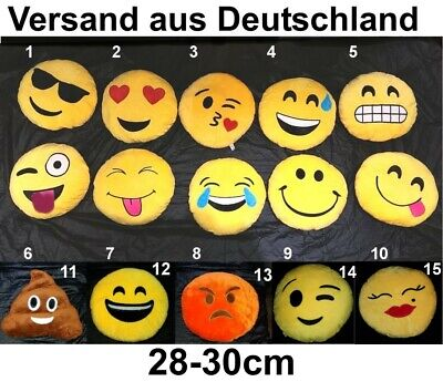 großes Emoji Smiley Deko Kissen Emoticon Dekokissen WhatsApp Ø30cm oder 16cm