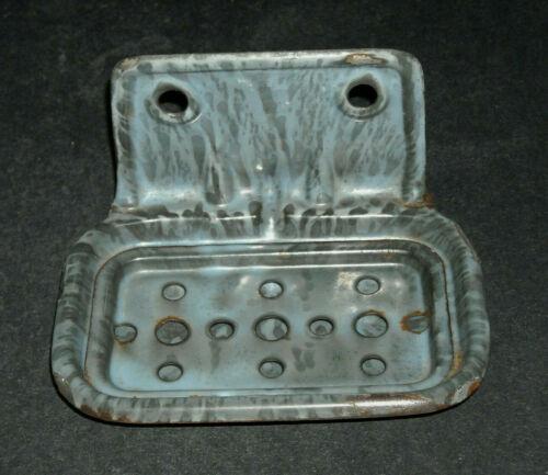 Excellent Grey Graniteware Soap Dish with Strainer Insert Enamel Ware