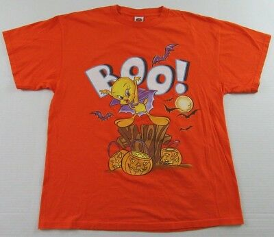 Vintage WB Looney Tunes TWEETY BIRD BOO!! Halloween Pumpkin T Shirt Size XL (Halloween Tunes)