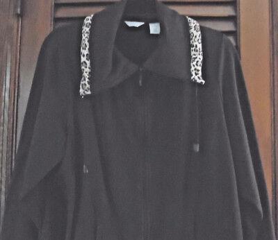 (Laura Ashley Woman Brown Cotton Jacket With Animal Print Trim & 2 Pockets SZ 1X)