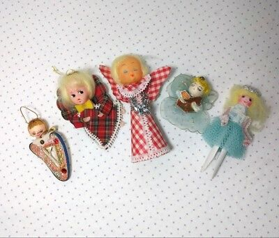 Lot of 5 Vintage Christmas Angel Ornaments Decorations Handmade - Christmas Angel Ornaments
