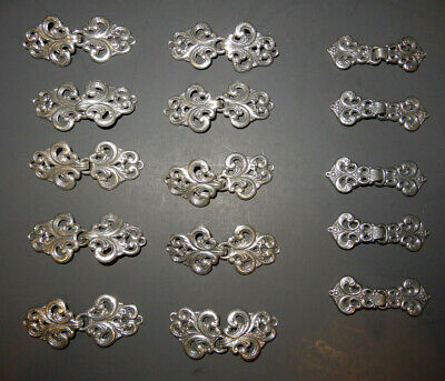 TINN-PER Norwegian Silver Tone Metal Clasp/Frog For Clothing 15 SETS, 2 -