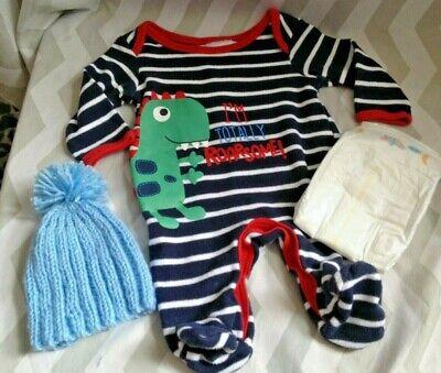 Reborn doll clothes,newborn babygrow, hat and nappy set