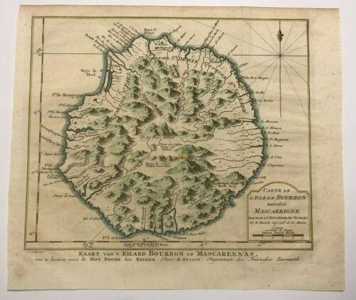 REUNION ISLAND INDIAN OCEAN 1746 NICOLAS BELLIN NICE ANTIQUE MAP 18TH CENTURY