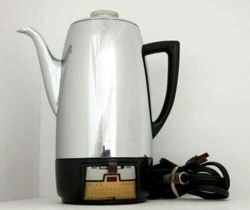 Vintage MCM universal coffeematic 10 cup percolator coffeepot chrome model 4410