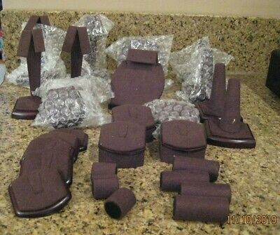 Lot 18 31 Piece Assorted Chocolate Brown Jewelry Display Elements Set New