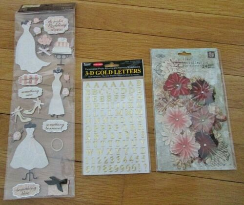 Wedding Scrapbooking Stickers Lot Bride Dress Cake Flowers 3D Gold Letters