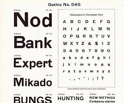 Nos Atf 14pt Gothic No. 545. Lower-case Atf No. 264. Letterpress Metal Type