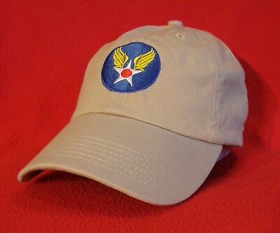 Wwii Ball Cap - WWII era U.S. Army Air Forces emblem Aviator BALL CAP, khaki low-profile hat
