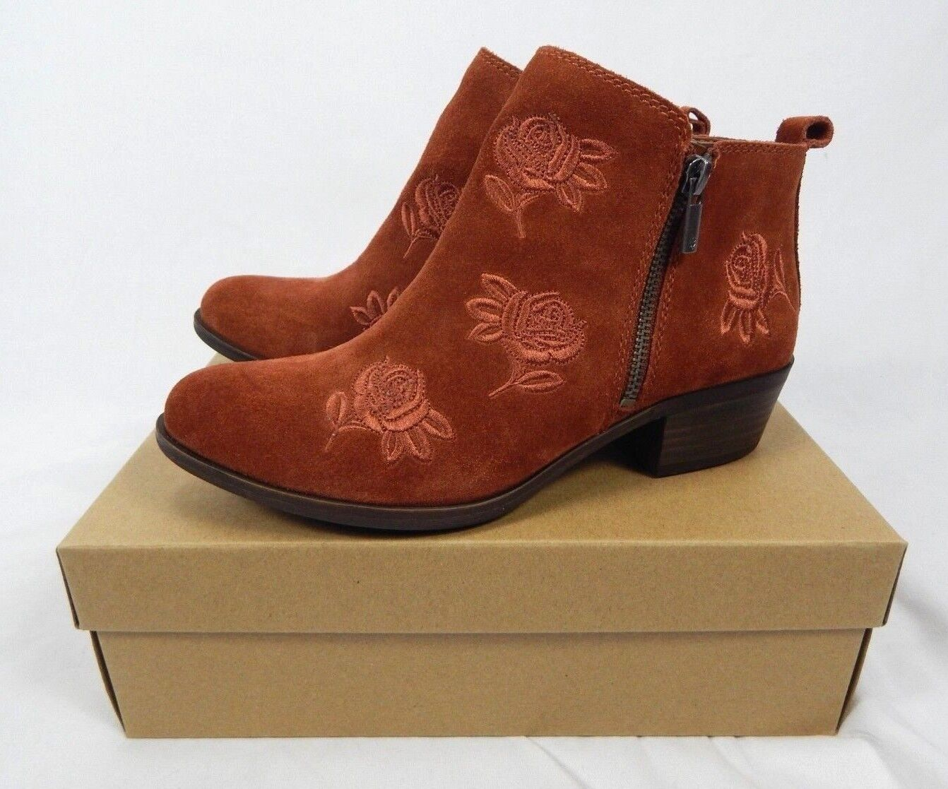 Lucky Brand Women's Red Oak Oiled Suede Basel Embroidery Ankle Booties - 8, 8.5
