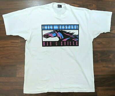 VTG BEST Fruit of the Loom Wild Mustang Bar & Grill Mens Tee White Size