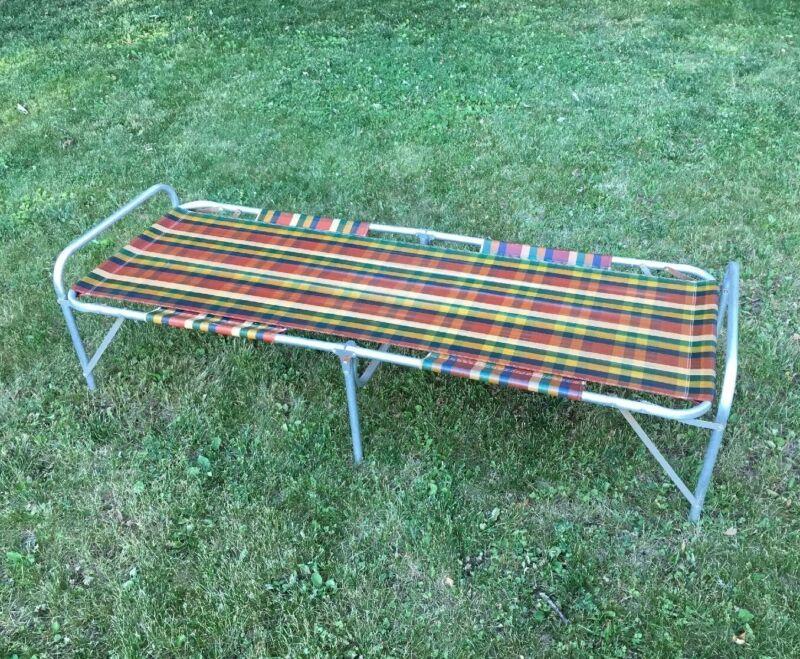 Vintage Folding Aluminum Camping Cot Bed Cool Retro Plaid Colors MCM Adult Size