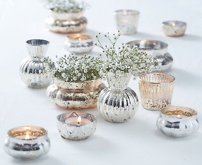 Gold & Silver Mercury Glass Tea Lights Wedding Table Decorations