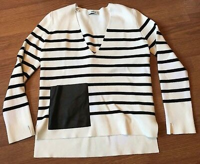 ZARA KNIT SWEATER V NECK FAUX LEATHER POCKET STRIPE BLACK WHITE SIZE M MEDIUM *E