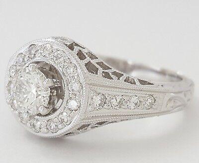 0.75 ct 18K White Gold Round Diamond Halo Engagement Ring GIA Rtl $2,700 11