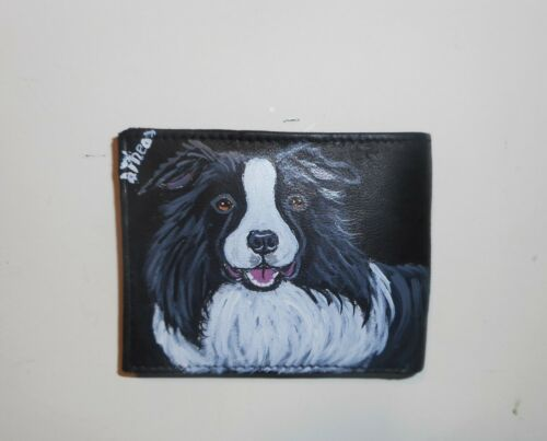 Border Collie Dog Hand Painted Leather Wallet for Men
