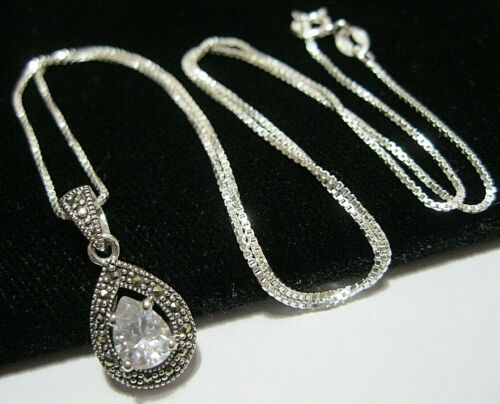 New Art Deco Style Sterling Silver Marcasite CZ Crystal Drop Pendant Necklace