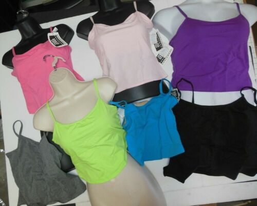 COTTON SPANDEX CAMISOLE TOPS GREAT COLORS full shelfbra ch/ladies gym yoga dance