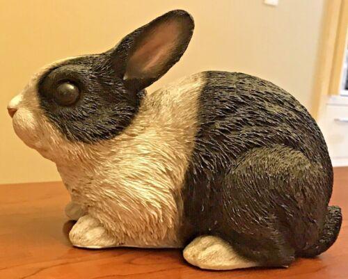 "Hotant Resin Sitting Dutch Rabbit Figurine Realistic Black and White 9.5"" x 6"""