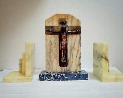 Beau Christ Art déco et paire de serres-livres