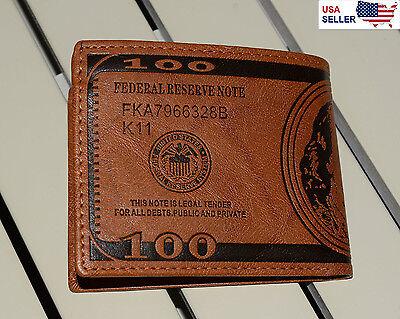 New BENJAMIN FRANKLIN $100 Dollar Bill Wallet for MEN, Brown